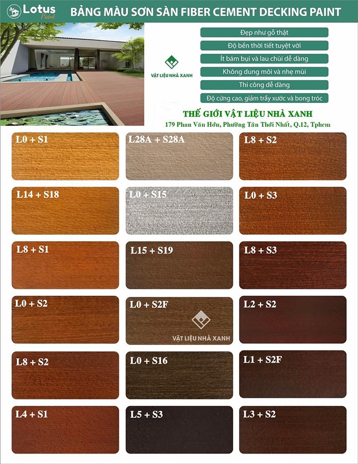 Bảng giá sơn giả gỗ Lotus sơn sàn ngoài trời, trong nhà