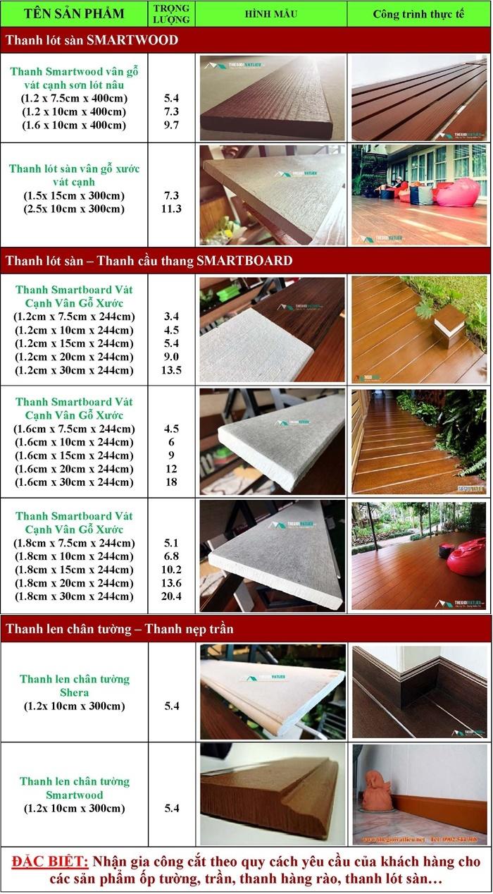 Kích thước của tấm lót sàn giả gỗ Smartwood Thái Lan