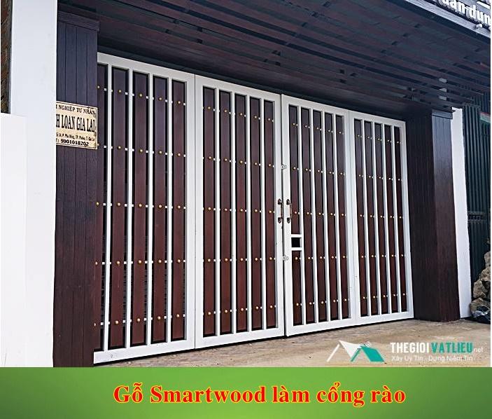 Thanh xi măng giả gỗ Smartwood làm cổng rào gỗ
