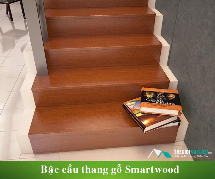 Thanh xi măng giả gỗ Smartwood làm cầu thang gỗ