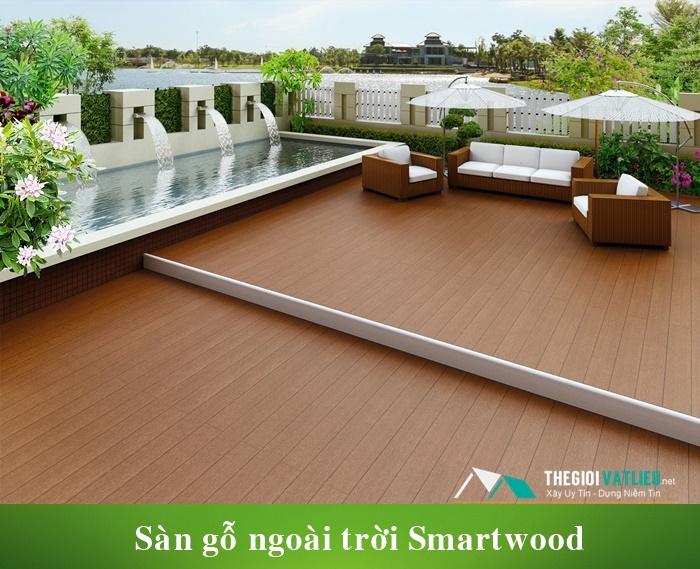 Thanh xi măng giả gỗ Smartwood làm sàn gỗ ngoài trời sân vườn