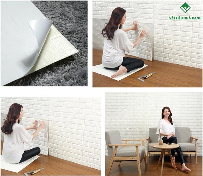 Việc thi công xốp dán tường rất đơn giản