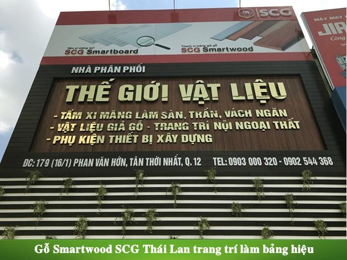 Gỗ Smartwood SCG Thái Lan làm bảng hiệu gỗ