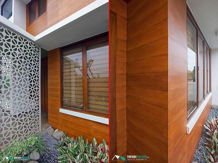 Sơn tường giả gỗ lotus