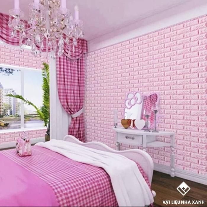 xốp dán tường 3d màu hồng