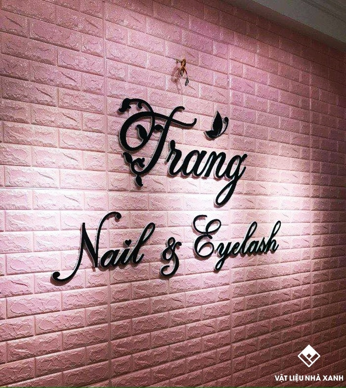 xốp dán tường giả gạch màu hồng