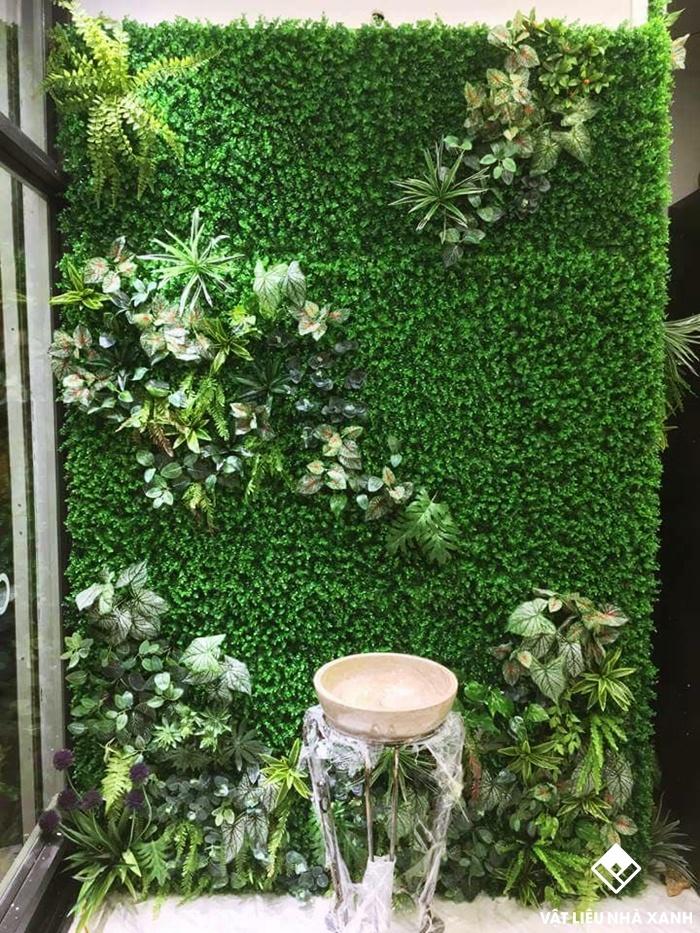 trang trí tường bằng cỏ nhựa