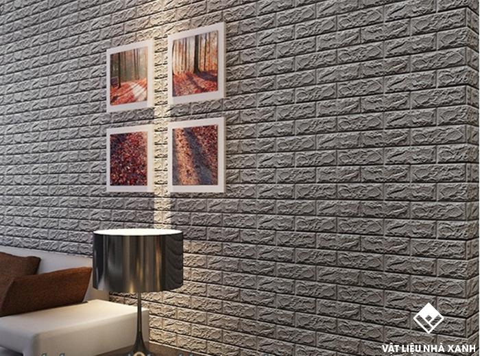 xốp dán tường 3d giả gạch màu xám