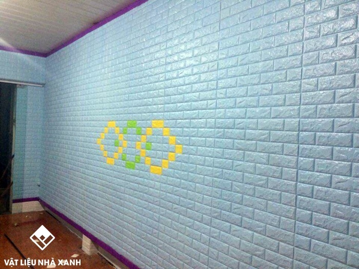 xốp dán tường giả gạch màu xanh ngọc