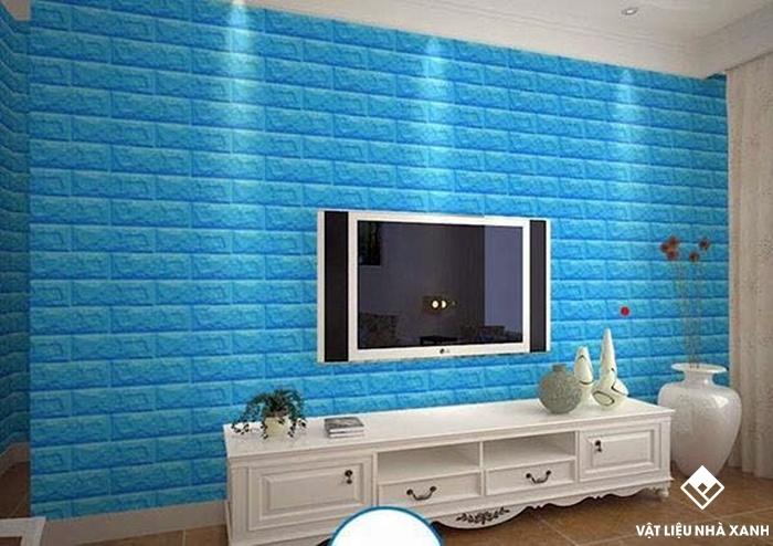 xốp dán tường giả gạch màu xanh dương