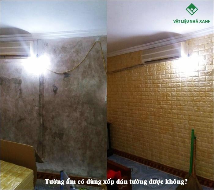 tường ẩm có dùng xốp dán tường được không