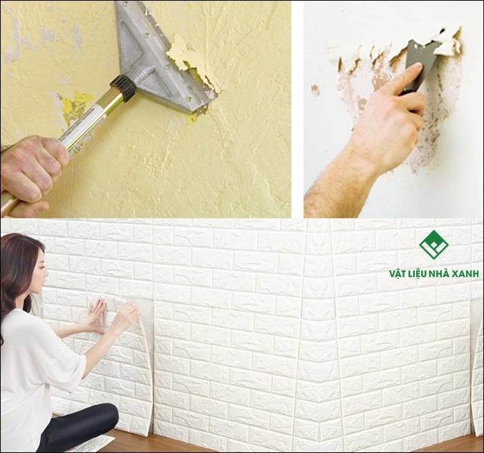Xốp dán tường có dán được tường vôi không