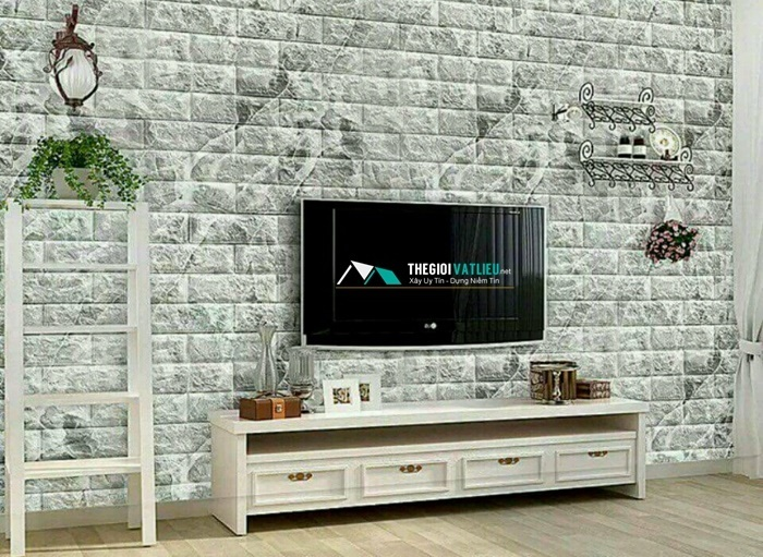 xốp dán tường giả đá phòng khách