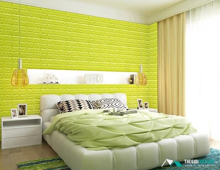 xốp dán tường màu xanh lá
