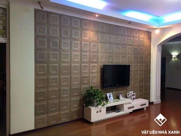 xốp dán tường trang trí phòng khách