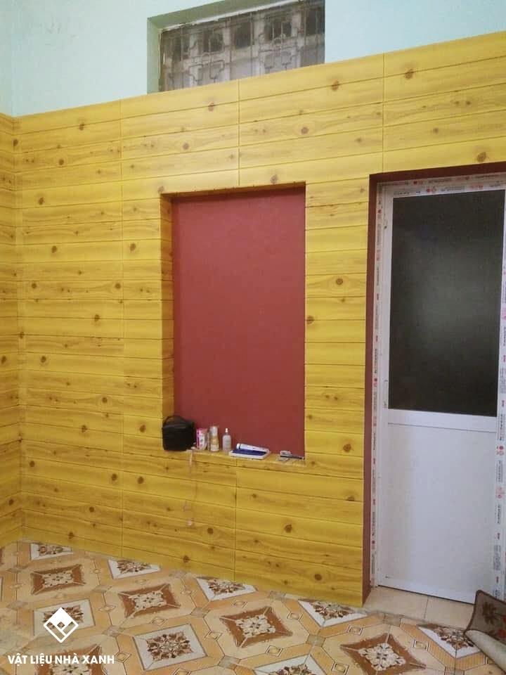 xốp giả gỗ dán tường