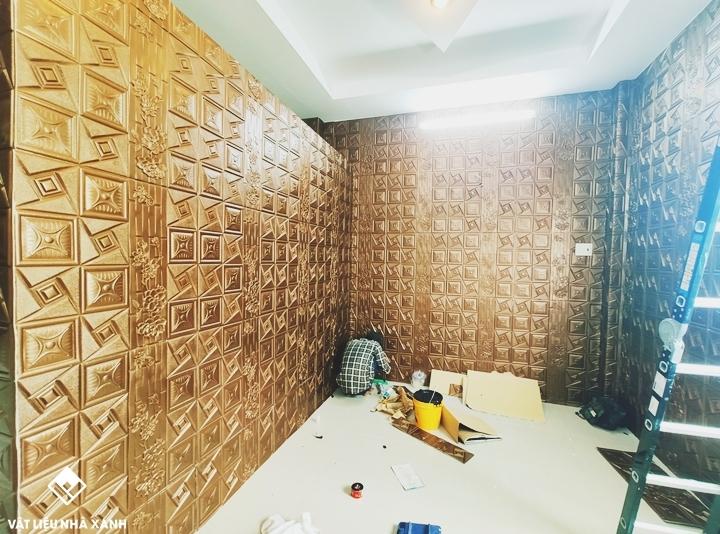 công trình xốp dán tường giả da R