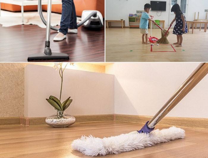 cách vệ sinh sàn nhựa giả gỗ
