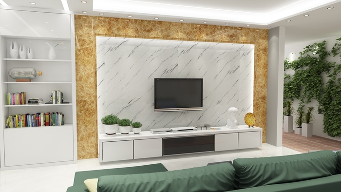 8 mẫu gạch ốp tường phòng khách nhà ống