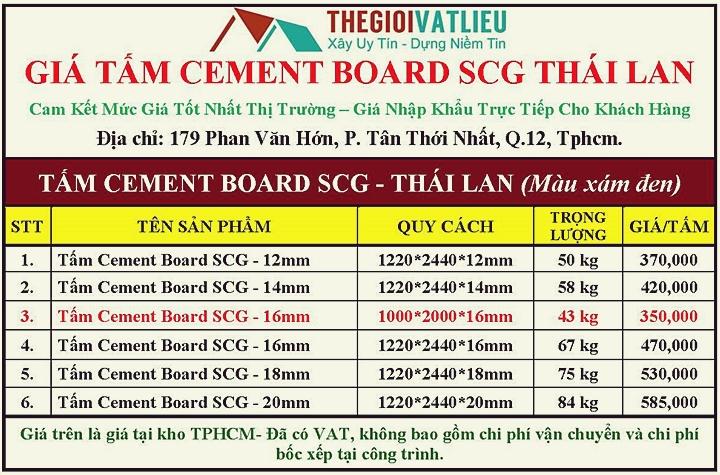 Báo giá tấm Cement Board Thái Lan thương hiệu SCG