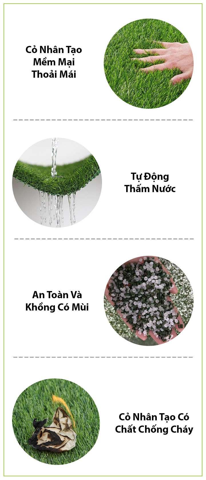 ưu điểm của thảm cỏ nhân tạo